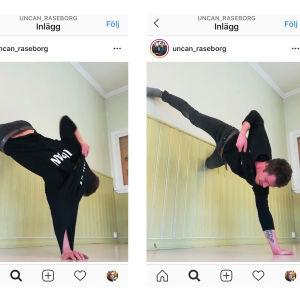 screen shot från instagram på man som står på händerna