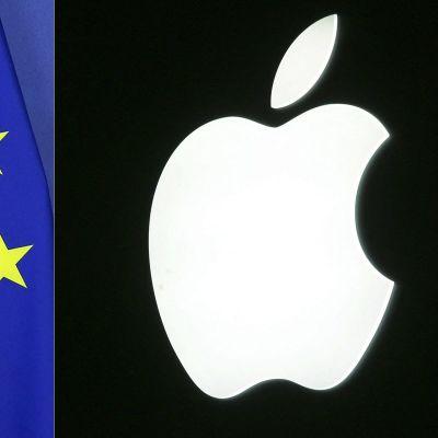 EU:s flagga och Apples logga.