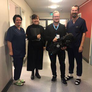 Elossa 24h-sarjan kuvausryhmä Valkeakosken sairaalassa
