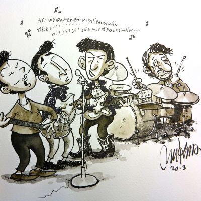 Mauri Kunnaksen piirtämä Beatles-kuva