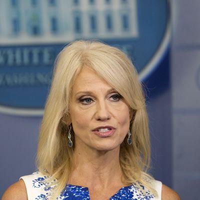Kellyanne Conway televisiohaastattelussa Valkoisessa talossa 3. elokuuta.