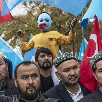 Turkkilaiset ja uiguurit osoittivat mieltään Kiinaa vastaan Istanbulissa marraskuussa 2018.