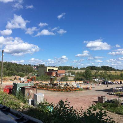 Tampereen Hiedanrannan aluetta elokuussa 2018.
