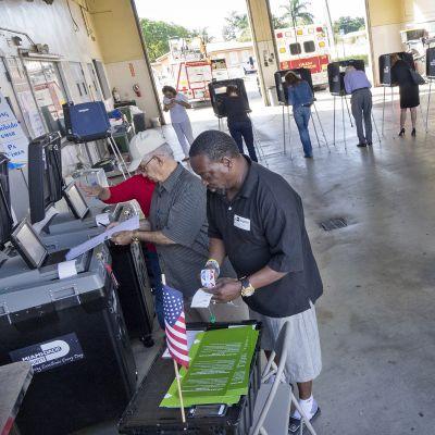 Presidentinvaalien äänestyspaikka Miamissa, Floridassa marraskuussa 2016.