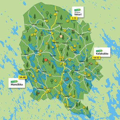 Kartta pohjoissavolaisista leader-rahoituksella toteutetuista retkikohteista.