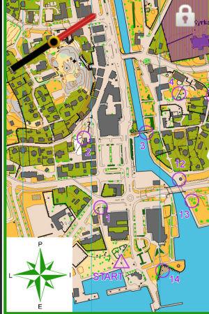Karta för mobilorientering från Pargas centrum.