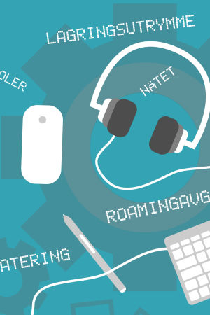 Pekplatta, tangentbord och hörlurar.