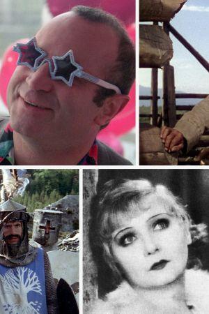 Kollaasi Teeman syksyn 2019 elokuvista, vasemmalta ylhäältä myötäpäivään: Palaa luokseni vielä, Mona Lisa, Etäisten laaksojen mies, Mona Lisa, Yöperhonen, Monty Pythonin hullu maailma