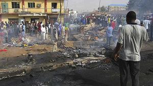 efterscen av bombattack i norra Nigeria