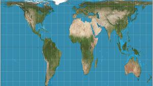 Gall-Peters projektion av världskartan där storleken på länderna är korrekta.