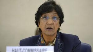 FN:s människorättschef Navi Pillay vid människorättsrådets möte i Genève i juli.