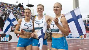 Anniina Kortetmaa, Jonna Berghem och Aino Pulkkinen tog trippelseger på 200 meter, Sverigekampen 2016.
