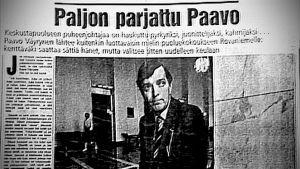 Lehtileike vuodelta 1982, jossa käsitellään Paavo Väyrysen päivärahoista syntynyttä keskustelua.