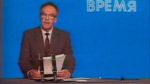 Uutisankkuri kertoo Moskovan TV:ssä Tshernobylin ydinvoimalaonnettomuudesta (1986)