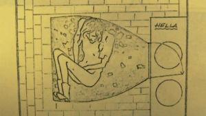 Nainen leivinuunin sisässä. Piirroskuva