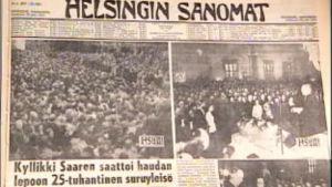 Helsingin Sanomien uutisointia Kyllikki Saaren hautajaisista