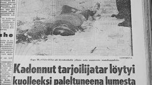 Sanomalehtikirjoitus kadonneesta Inga Mylläristä