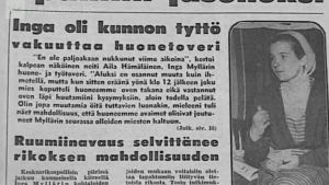 Sanomalehtikirjoitus Inga Mylläristä 1957