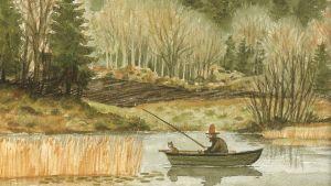 Pettson och Findus fiskar i roddbåt på hösten