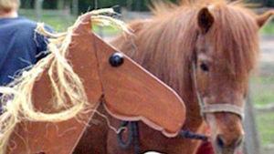 Oikean hevosen vieressä on puusta tehty keppihevonen