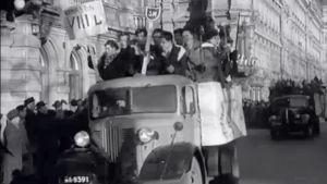 Penkkariajelua Helsingissä 1949