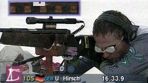 Saksalainen ampumahiihtäjä ampuu paralympialaisissa 1994