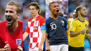 Harry Kane, Luka Modric, Kylian Mbappé, Eden Hazard.