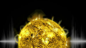 En animerad bild på solen.