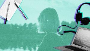 Nainen katsoo pois päin kuvasta taustalla järvimaisema