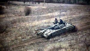Ukrainska soldater i Donbass den 18 april 2021.
