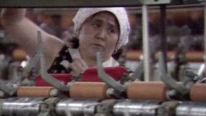 Nainen työskentelee tehtaassa