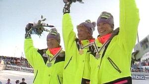 Pirkko Määttä, Marja-Liisa Kirvesniemi ja Marjo Matikainen Lahden MM-kisoissa 1989