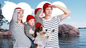 Kampanbild på familj för att locka fler invånare till Pargas.