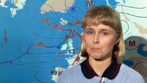 Meteorologi Seija Paasonen ennustaa 1986.