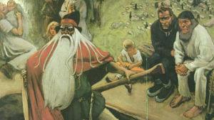 Väinämöinen lämnar Kalevala. Målning av Akseli Gallen-Kallela.