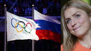 Therese Johaug med den ryska och olympiska flaggan.