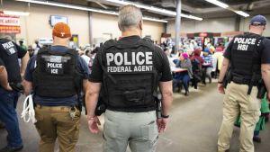 De amerikanska gränsmyndigheterna grep  680 personer i en räd  mot papperslösa i delstaten Mississippi den 7 augusti 2019.