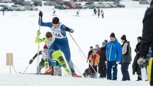 Österbyloppet 2014. (148) Lassi Vuorinen PeU, (146) Emil Talsi OneWayPro och (145) Erik Ingman ÖSK.