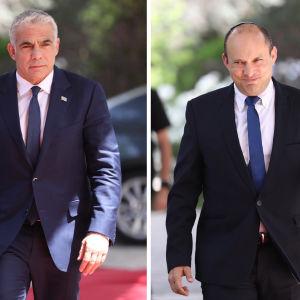 Bildkollage på två män i kostym och slips.