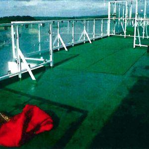 Viking Sallyn helikopterikannelta teon jälkeen 1987, kuvassa hyökkäyksen tapahtumapaikka.