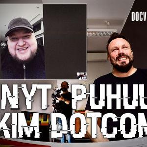 Kim Dotcom ja Riku Rantala skype-yhteydessä, tekstinä: Nyt puhuu Kim Dotcom
