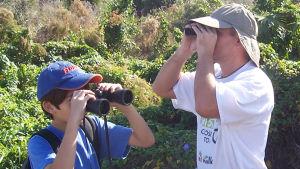 Mies ja poika katsovat lintuja kiikareilla