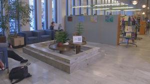 marmorbassäng i  stadsbiblioteket i Jakobstad