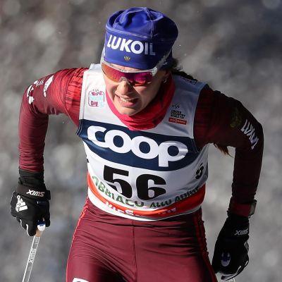 Anastasija Sedova i världscupspåret i Toblach i december.