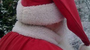Julgubbens huvud fotat bakifrån.