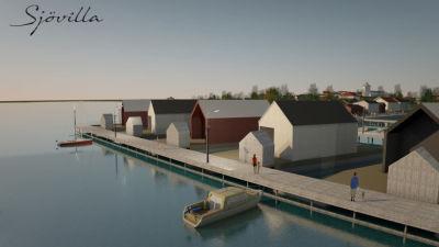 En skiss över några hus byggda på vattnet.