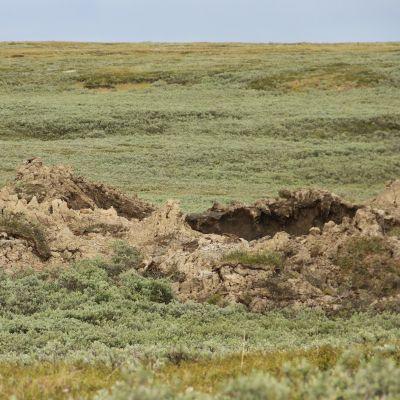 Kesäinen näkymä suureen kraateriin.
