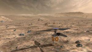 Den lilla helikoptern Ingenuity som färdas till Mars tillsammans med rovern Perseverance.