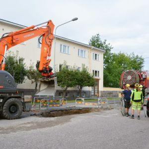 Reparationsarbete för vattenrörsläcka