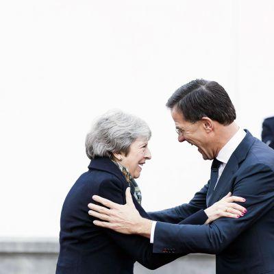 Theresa May tapasi Hollannin pääministeri Mark Rutten Haagissa.
